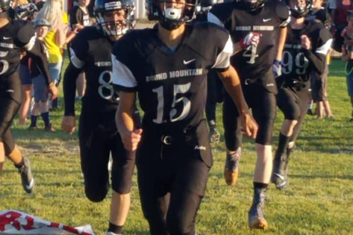 Special to Times-Bonanza & Goldfield News Sophomore Koleby Harmon leads the Round Mountain foot ...