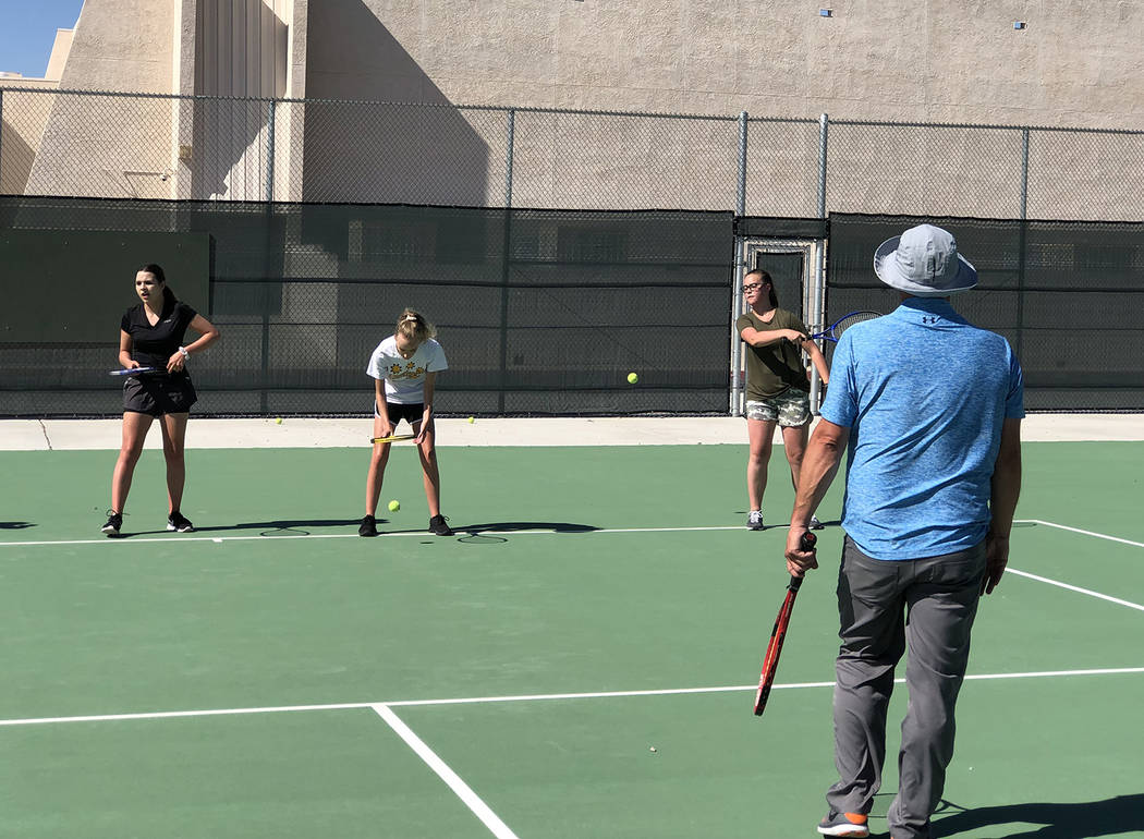 Tom Rysinski/Pahrump Valley Times The Pahrump Valley High School tennis team posted the first t ...