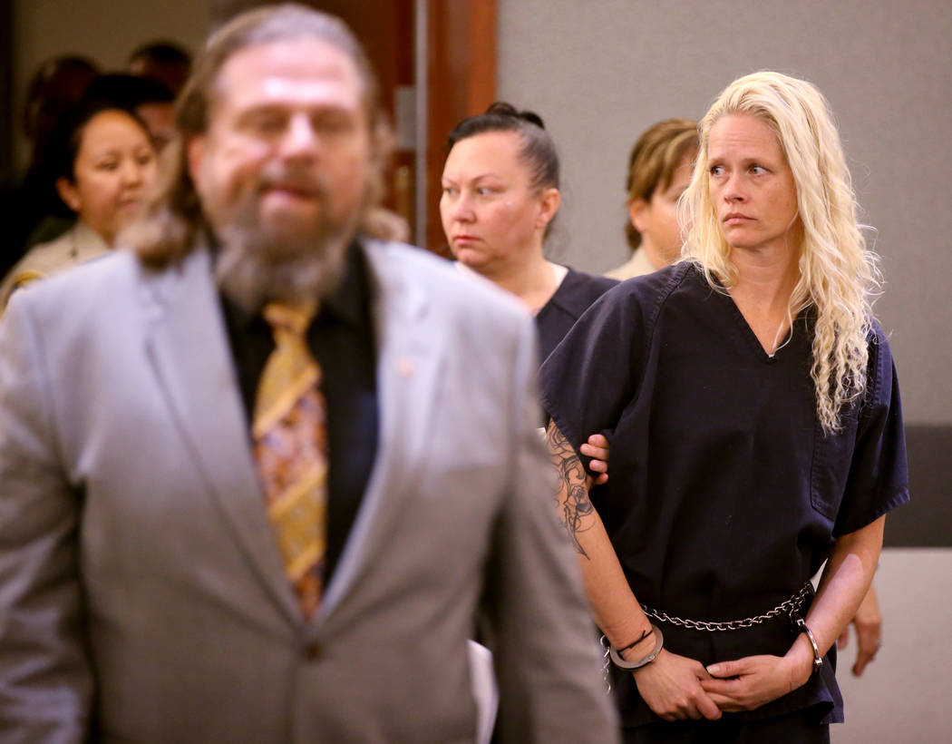 Korey Hooper, right, and Norma Snyder in court at the Regional Justice Center in Las Vegas on T ...