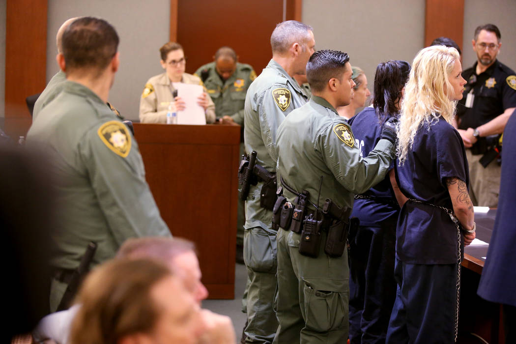 """Korey Hooper, from right, Norma Snyder and Dorothy """"Dot"""" Mitchell appear in court at the Region ..."""
