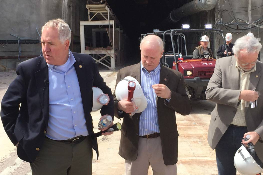 Pahrump Valley Times file U.S. Rep. John Shimkus, R-Ill., left, shown visiting Yucca Mountain i ...
