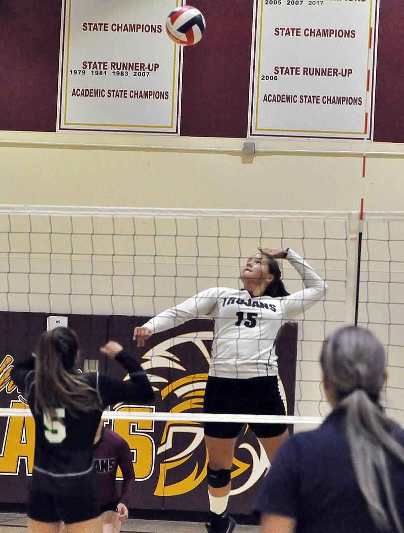Horace Langford Jr./Pahrump Valley Times Junior Kate Daffer finished with 7 kills and 2 aces as ...