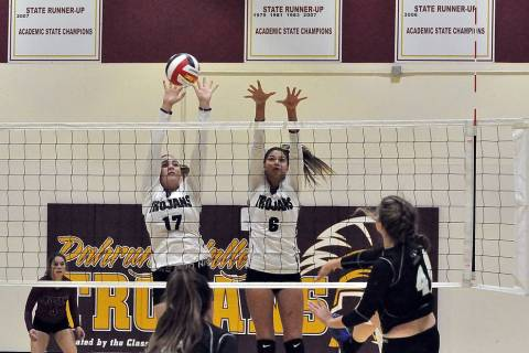 Horace Langford Jr./Pahrump Valley Times Pahrump Valley's Kylie Stritenberger, left, and Nicky ...