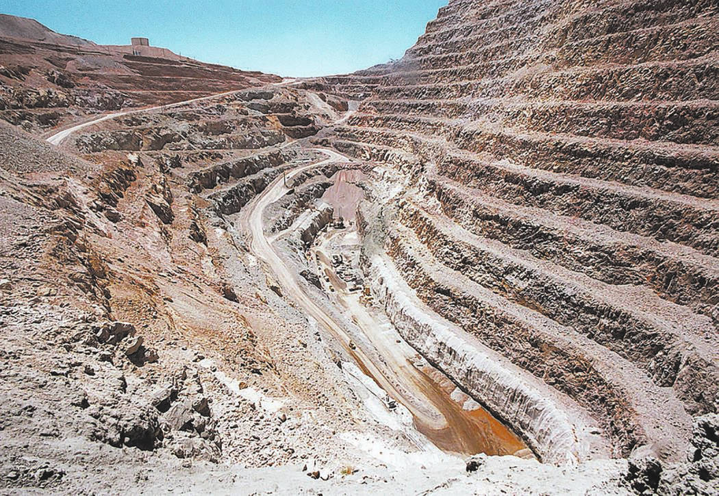 Gary Thompson/Las Vegas Review-Journal file Open pit area of the Barrick Bullfrog Gold Mine as ...