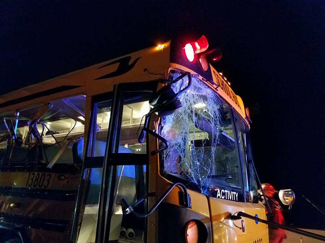 Photo courtesy Cameron McRae/Nye County Schools The crash occurred late Thursday night along Ne ...
