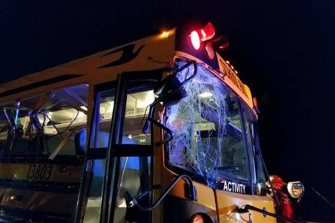 Photo courtesy Cameron McRae/Nye County Schools The crash occurred late Thursday night along Ne ...