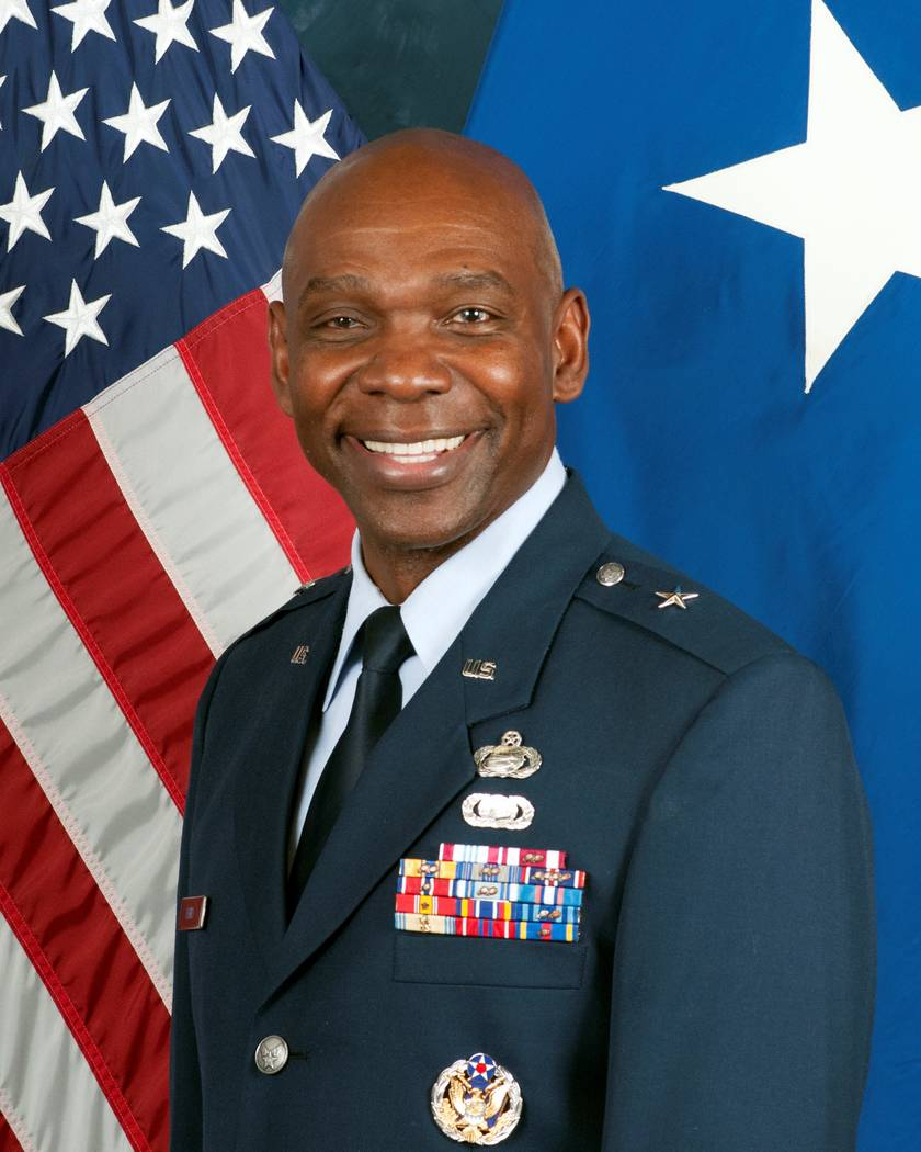 Brig. Gen. Ondra Berry, the new adjutant general for the Nevada National Guard, poses for a hea ...