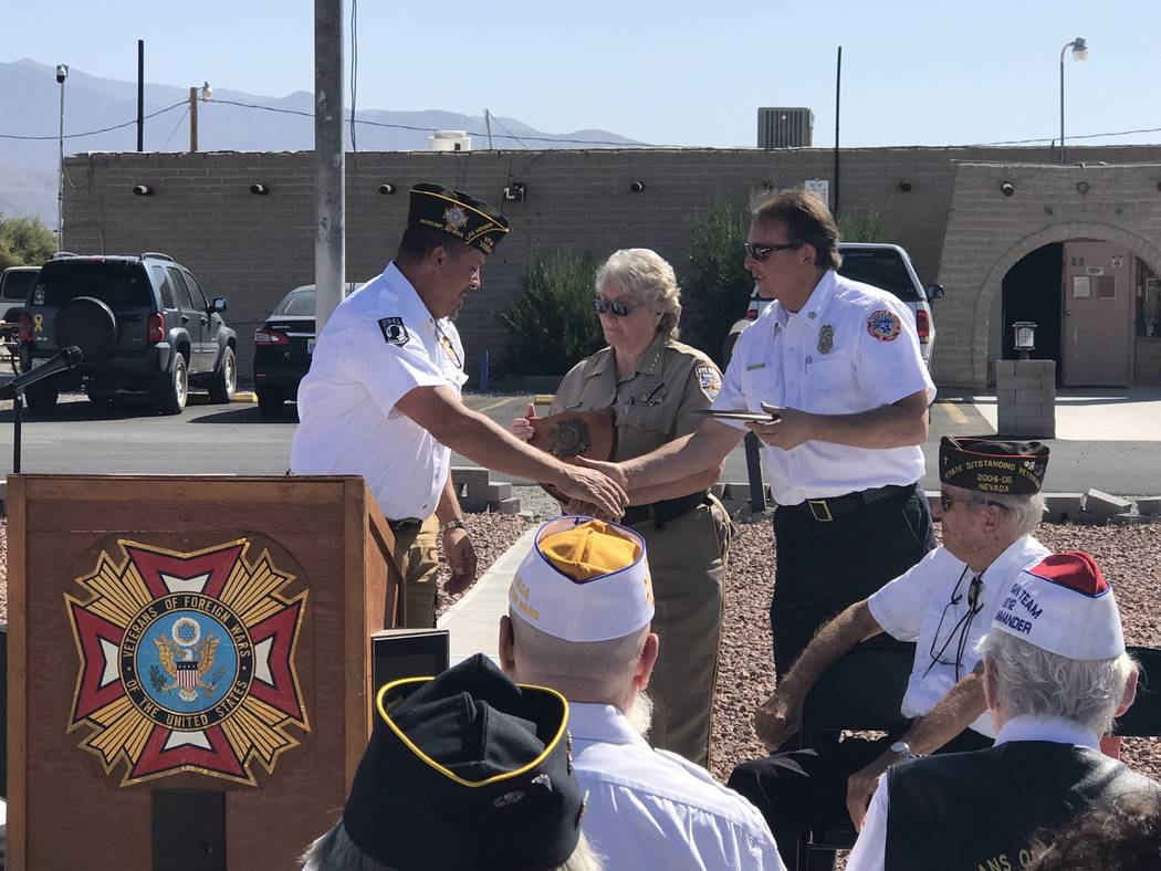 Jeffrey Meehan/Pahrump Valley Times Nye County Sheriff Sharon Wehrly and Pahrump Valley Fire an ...