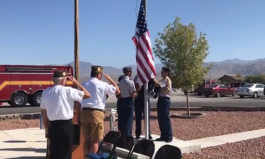 Jeffrey Meehan/Pahrump Valley Times The American flag and prisoners of war flag were set to ha ...