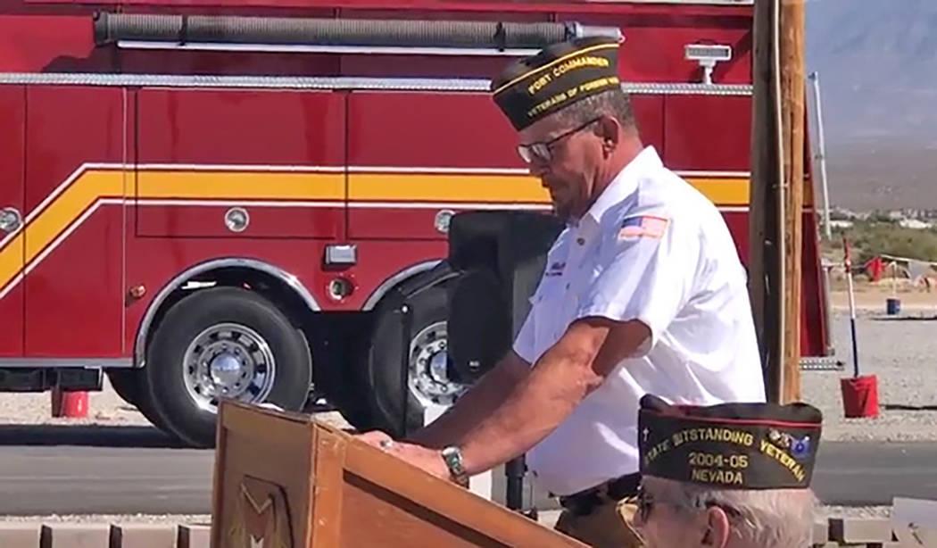 Jeffrey Meehan/Pahrump Valley Times Marty Aguiar, post commander for Pahrump's VFW, speaks du ...