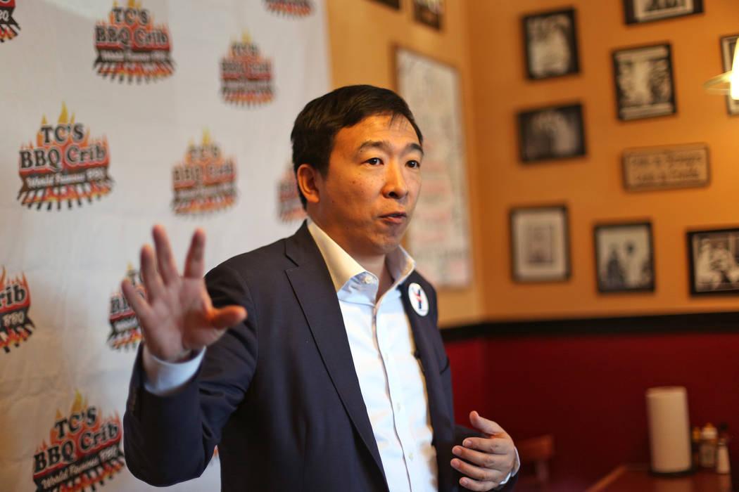 Rachel Aston/Las Vegas Review-Journal Democratic presidential candidate Andrew Yang in Las Vega ...