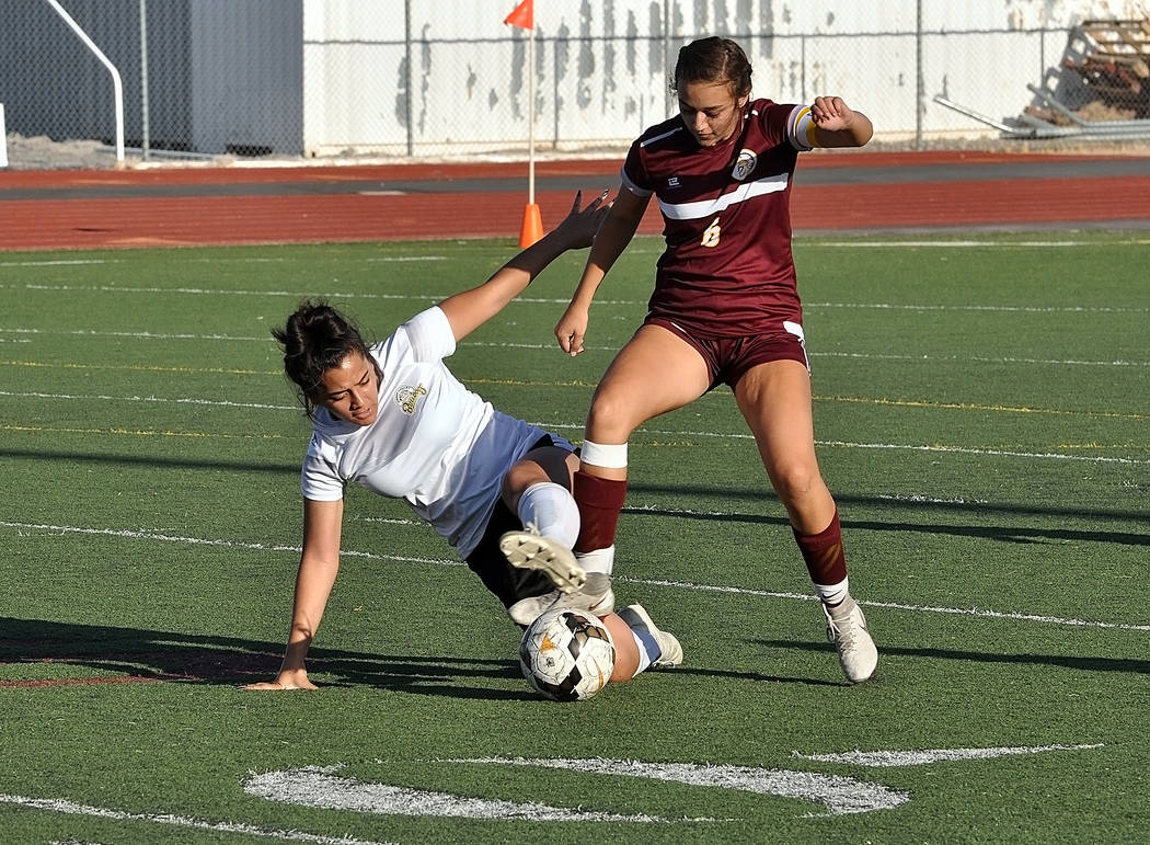 Horace Langford Jr./Pahrump Valley Times Junior Kaylee Mendoza scored the only goal for Pahrump ...