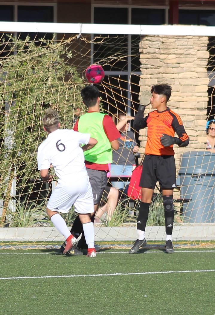 Tom Rysinski/Pahrump Valley Times Pahrump Valley High School sophomore Christian Mott scores th ...