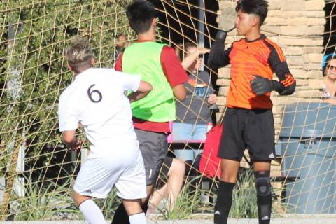Tom Rysinski/Pahrump Valley Times Pahrump Valley High School sophomore Christian Mott scores th ...