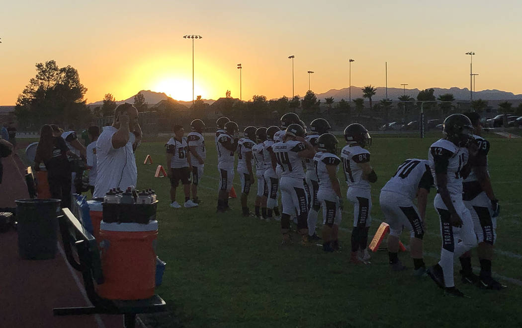 Tom Rysinski/Pahrump Valley Times The Pahrump Valley High School football team on the sideline ...