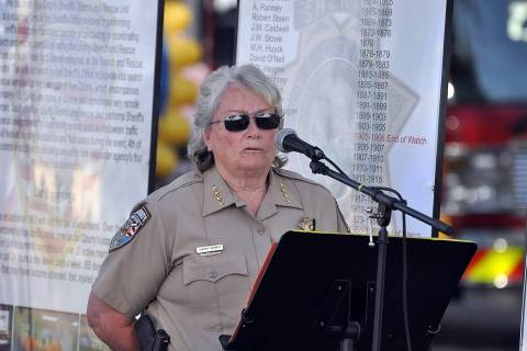 Horace Langford Jr./Pahrump Valley Times Nye County Sheriff Sharon Wehrly spoke at the 5th ann ...