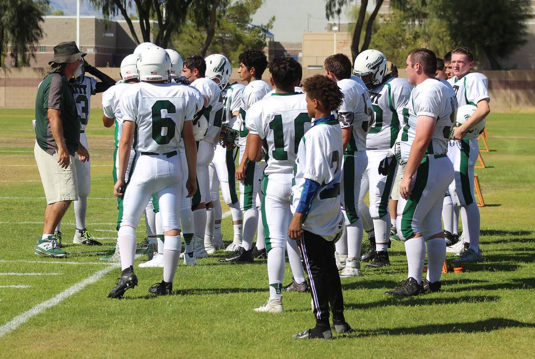 Tom Rysinski/Pahrump Valley Times Beatty football coach Leo Verzilli talks to his players befor ...