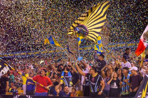 L.E. Baskow/Las Vegas Review-Journal Las Vegas Lights FC fans are bathed in confetti as the tea ...