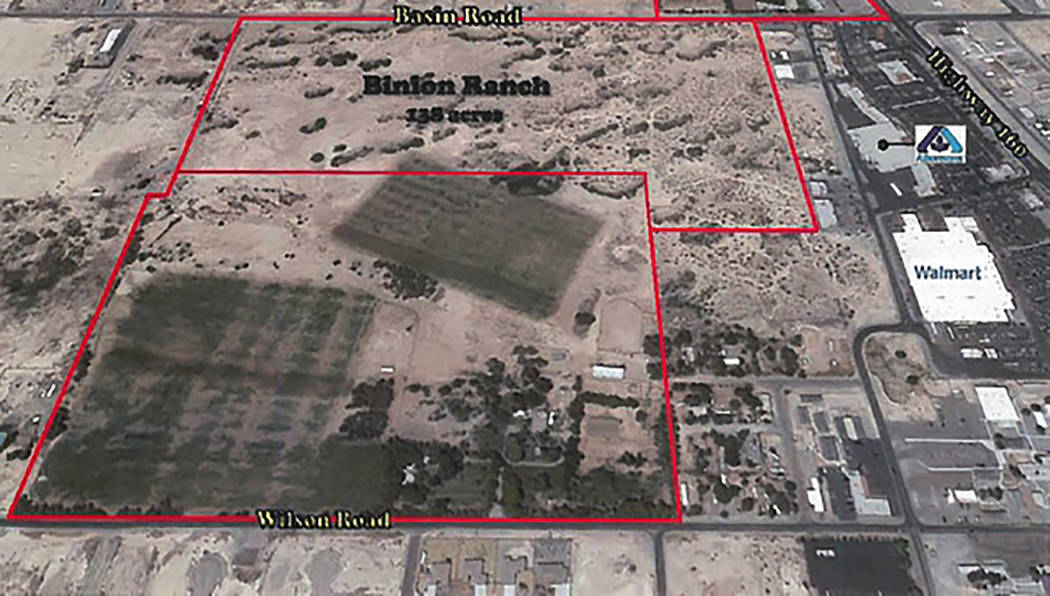 Special to the Pahrump Valley Times/file An outline of the 138-acre Binion Ranch as shown in a ...