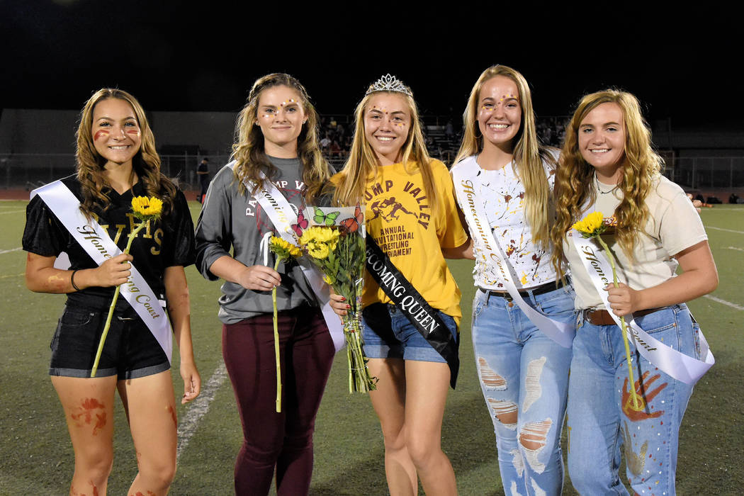 Peter Davis/Special to the Pahrump Valley Times Skyler Lauver, center, newly crowned homecoming ...