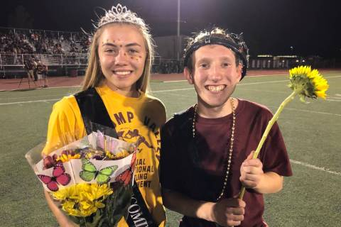 Tom Rysinski/Pahrump Valley Times Seniors Skyler Lauver and Ashton Kamien were crowned Pahrump ...
