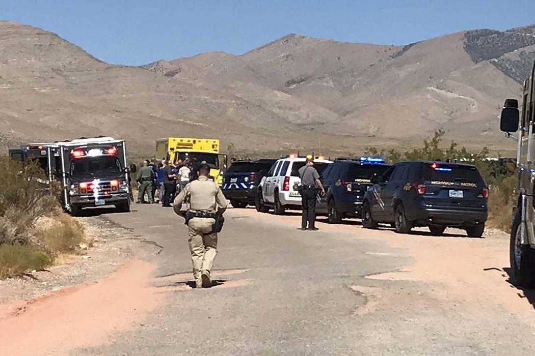 A hot air balloon crashed near Goodsprings, southwest of Las Vegas, Thursday morning, Sept. 12, ...
