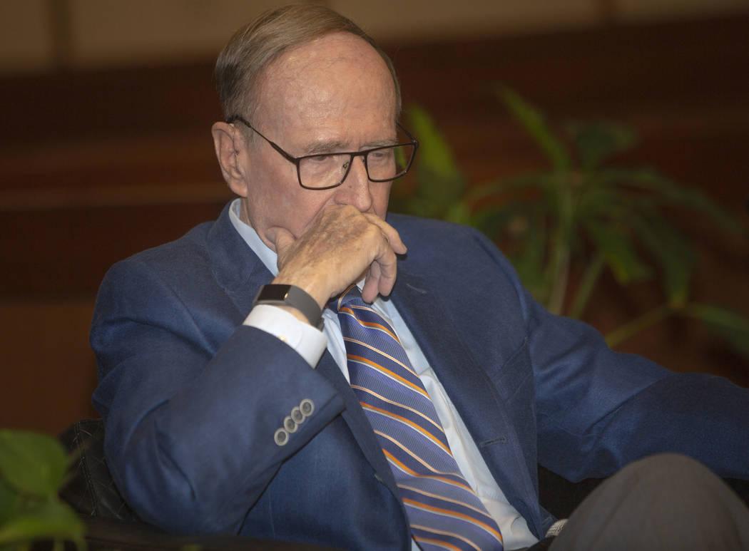 Former Nevada Gov. and U.S. Sen. Richard Bryan listens during the Nevada Senators Panel at UNLV ...