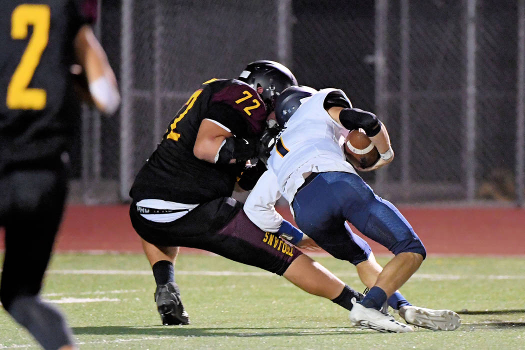 Peter Davis/Special to the Pahrump Valley Times Pahrump Valley senior Caleb Sproul brings down ...