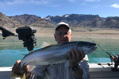 Special to the Pahrump Valley Times Dan Simmons with the largest Lahontan cutthroat of the day. ...