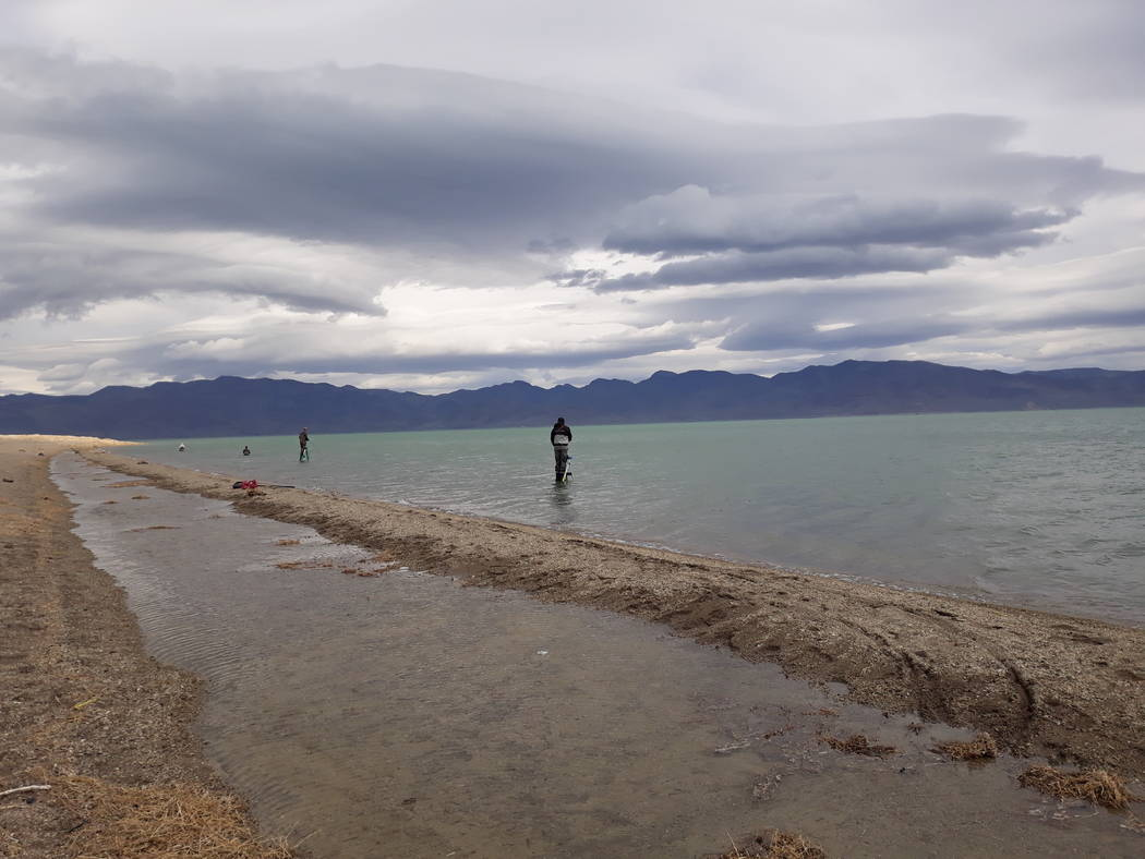 Dan Simmons/Special to the Pahrump Valley Times Anglers fly-fishing offshore while standing on ...