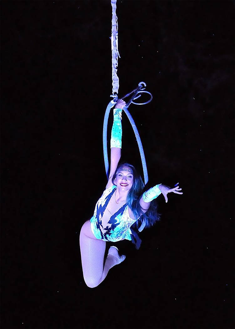 Horace Langford Jr./Pahrump Valley Times An Aerialist undertakes daring moves, with a smile as ...