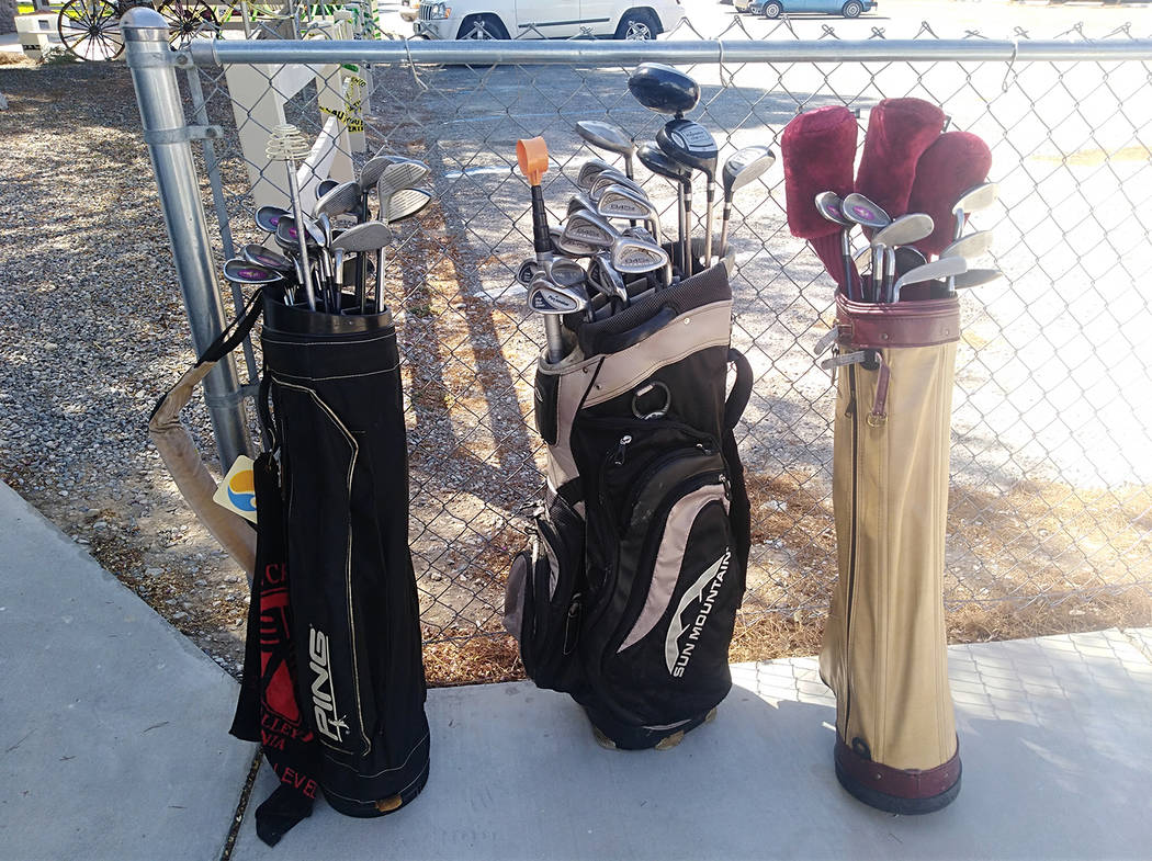 Selwyn Harris/Pahrump Valley Times Gently used golf clubs are one of the many items up for sale ...