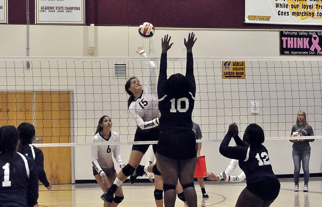 Horace Langford Jr./Pahrump Valley Times Pahrump Valley's Kate Daffer on the attack during a Se ...