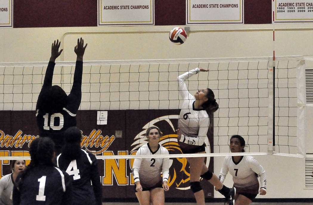 Horace Langford Jr./Pahrump Valley Times Junior Nicky Velazquez goes up for a kill during a swe ...