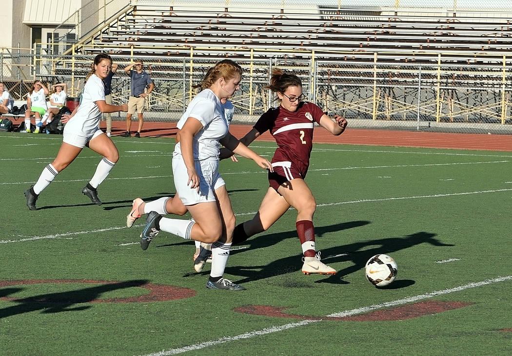 Horace Langford Jr./Pahrump Valley Times Freshman Adryanna Avena-Caraballo registered 2 goals a ...