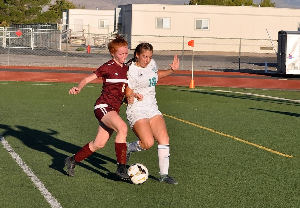 Horace Langford Jr./Pahrump Valley Times Pahrump Valley senior Makayla Gent scored 1 goal and a ...