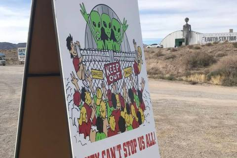 "Jeffrey Meehan/Pahrump Valley Times A welcome sign for the ""Storm Area 51"" event, pegged to att ..."