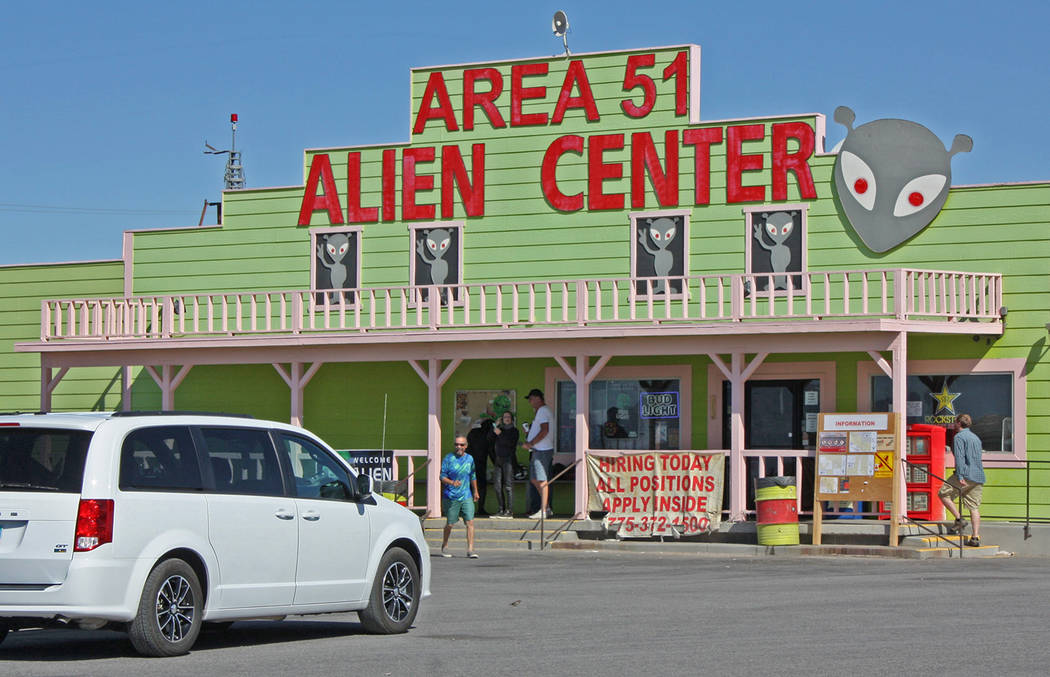 Robin Hebrock/Pahrump Valley Times The scene at the Alien Travel Center in Amargosa was fairly ...