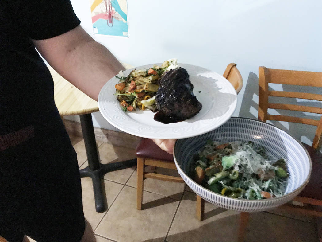 Robin Flinchum/Special to the Pahrump Valley Times Steaks and Beer shows menu items up close th ...