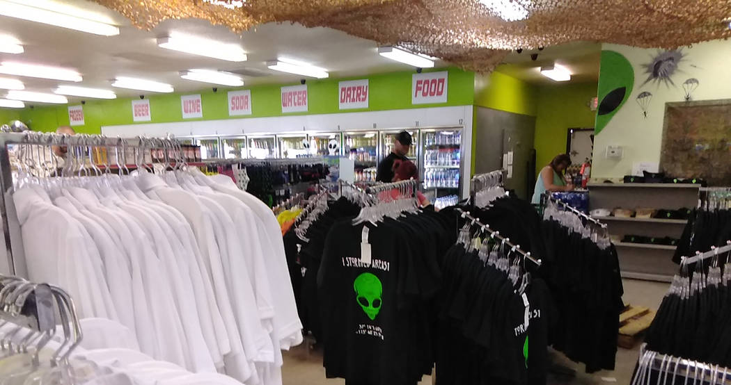 Selwyn Harris/Pahrump Valley Times Shoppers browse for souvenirs inside the Area 51 Alien Cente ...