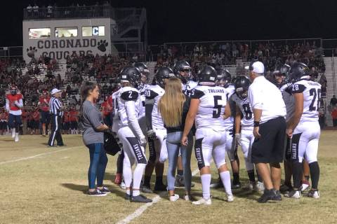 Tom Rysinski/Pahrump Valley Times Pahrump Valley High School football coach Joe Clayton talks t ...