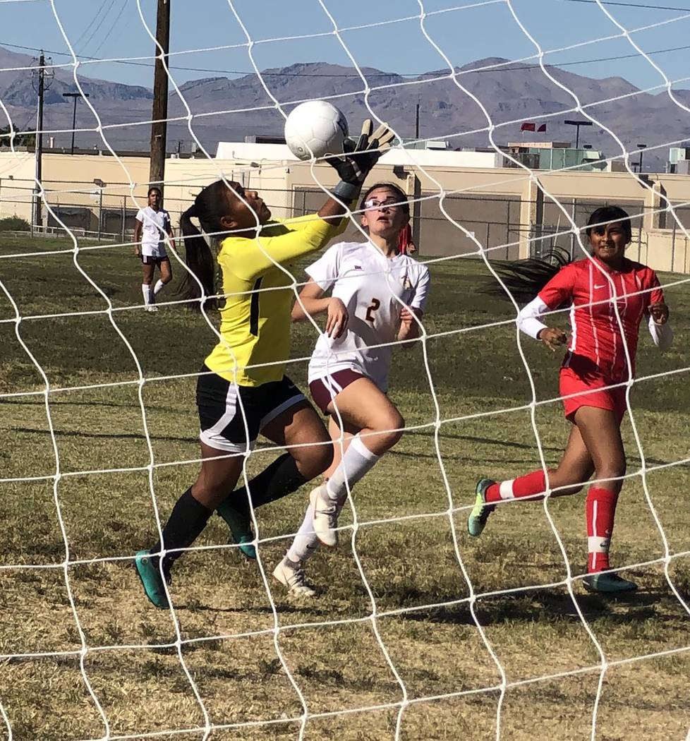 Tom Rysinski/Pahrump Valley Times Valley goalkeeper Sasha Centeno grabs the ball out of the air ...