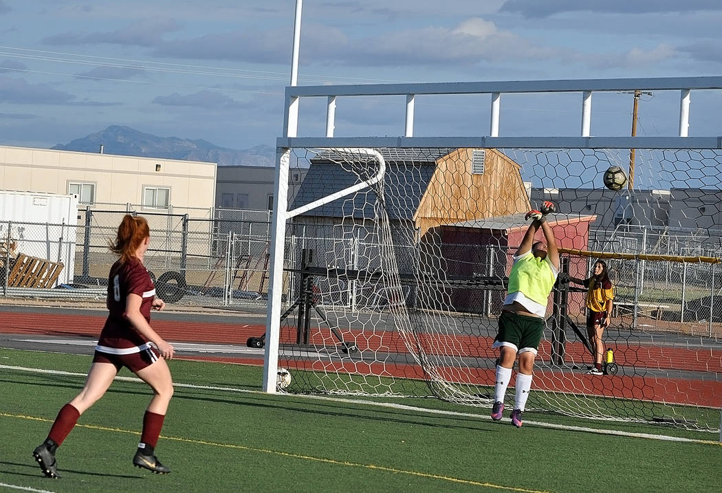 Horace Langford Jr./Pahrump Valley Times Junior Makayla Gent scores one of her 3 goals Thursday ...