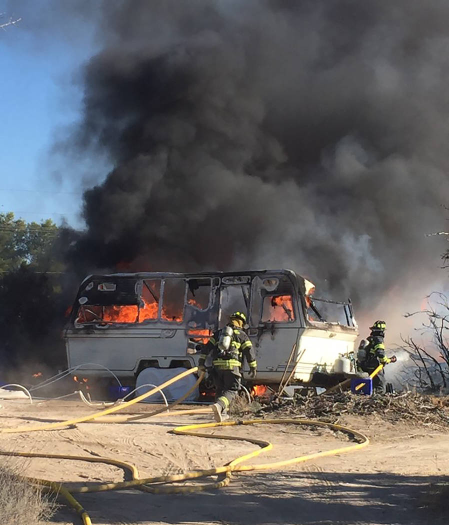 Special to the Pahrump Valley Times Pahrump fire crews were dispatched to a travel trailer fire ...