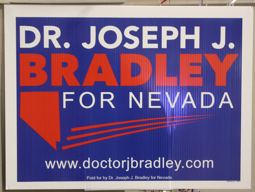 Robin Hebrock/Pahrump Valley Times Campaign signs showing support for Dr. Joseph Bradley were m ...