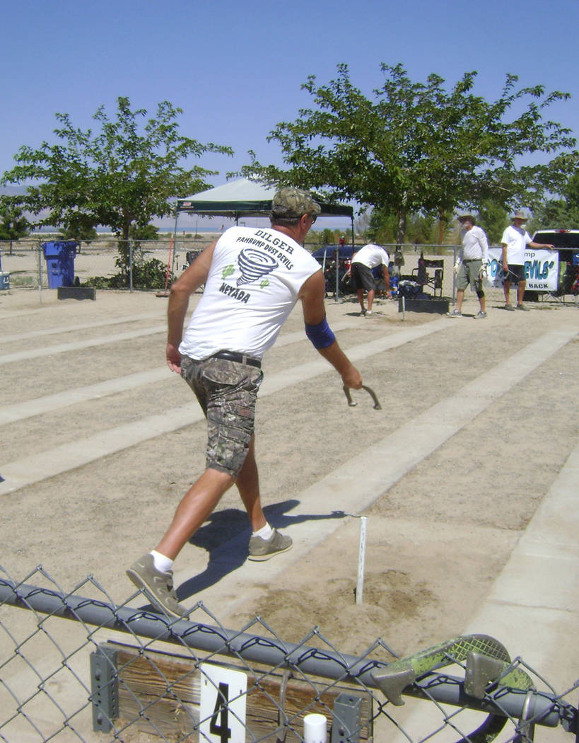 Mike Norton/Special to the Pahrump Valley Times Lathan Dilger, shown pitching horseshoes at las ...