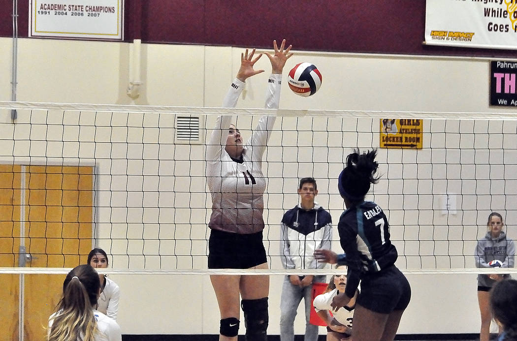 Horace Langford Jr./Pahrump Valley Times Pahrump Valley's Kylie Stritenberger goes up for a blo ...