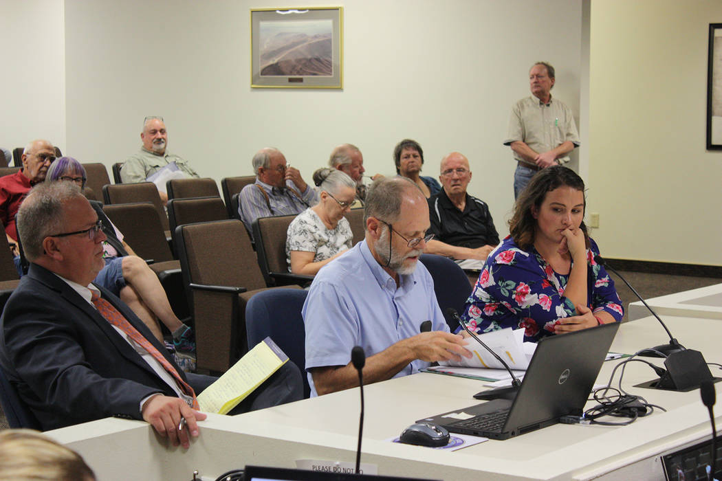 Robin Hebrock/Pahrump Valley Times Belmont property owner Neal Jones, center, is pictured makin ...