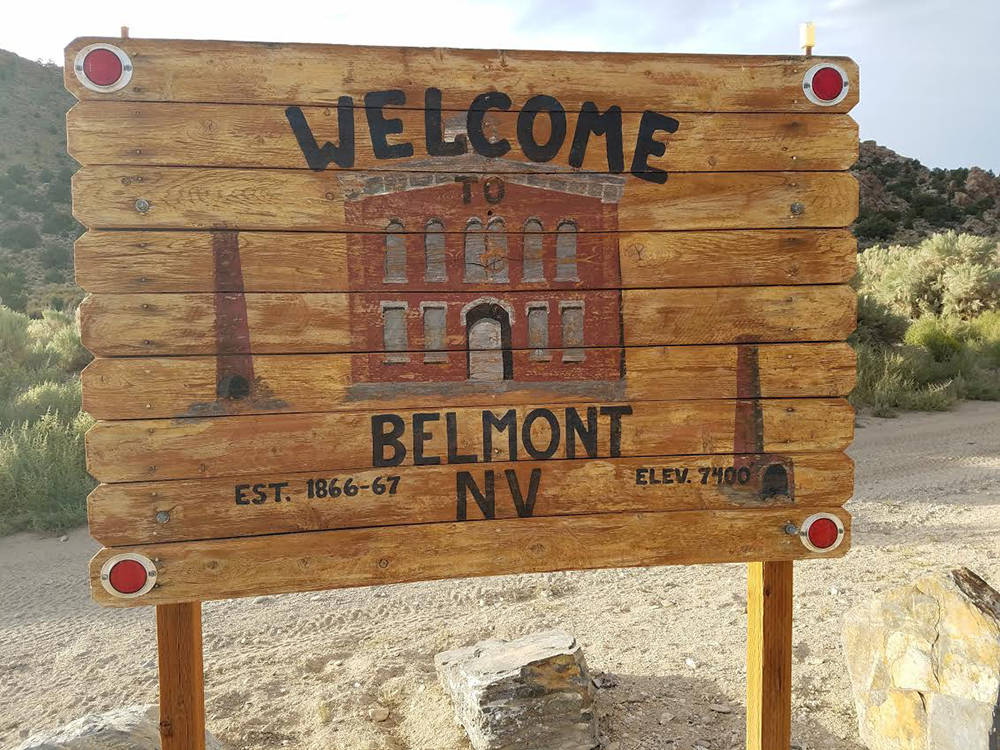 David Jacobs/Pahrump Valley Times A look at a welcome sign in the town of Belmont, located appr ...