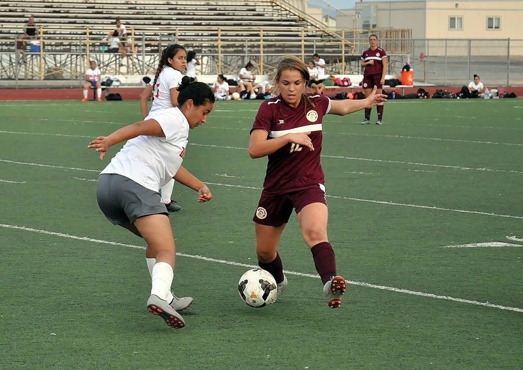 Horace Langford Jr./Pahrump Valley Times Maddy Souza scored a first-half goal for Pahrump Valle ...